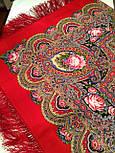 Русское раздолье 1619-5, павлопосадский платок шерстяной (двуниточная шерсть) с шелковой бахромой, фото 8