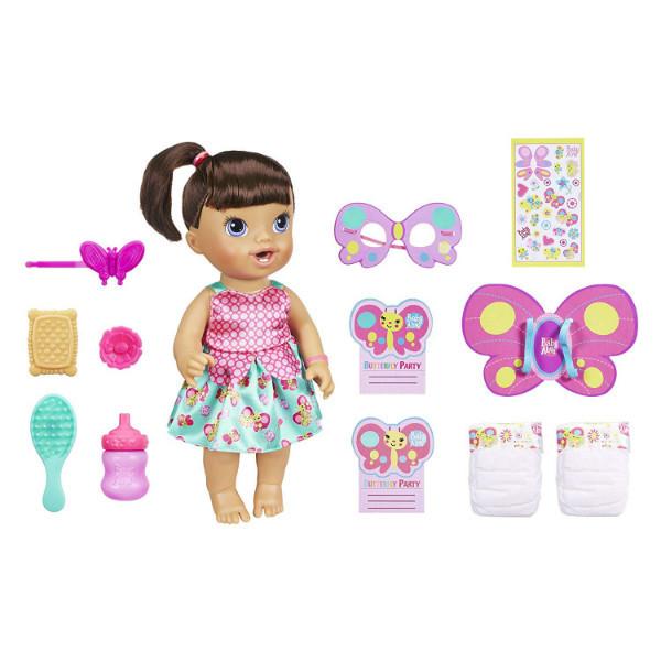 Baby Alive Интерактивная кукла пупс Вечеринка в стиле Бабочки Butterfly Party Brown Hair