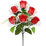 Букет розы в бутоне в вуальке , 43см (20 шт. в уп,), фото 2