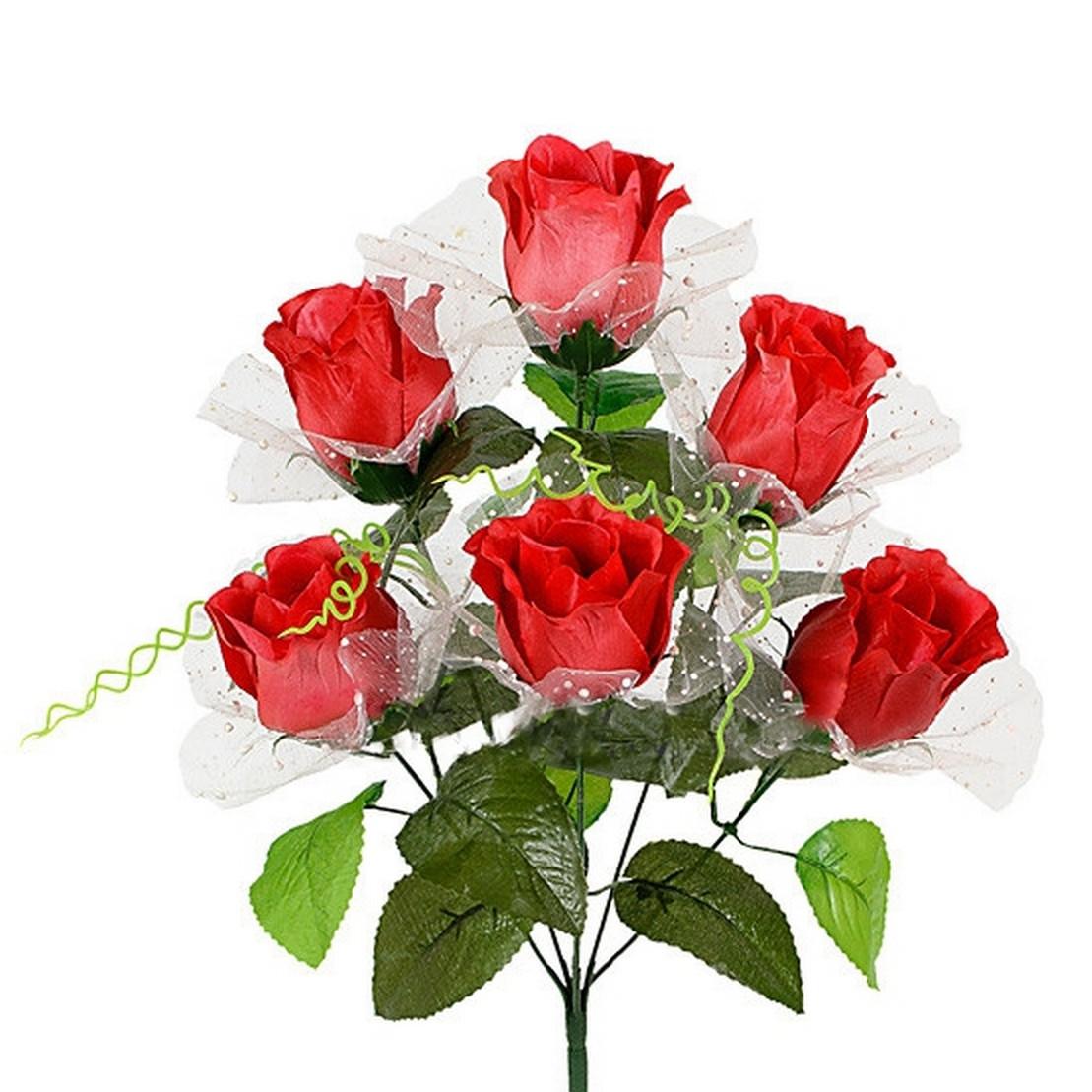 Букет розы в бутоне в вуальке , 43см (20 шт. в уп,)