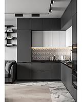 Кухня на заказ графитовая + белая. Новинка 2019