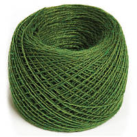 Пряжа для вязания 50% шерсть зеленая