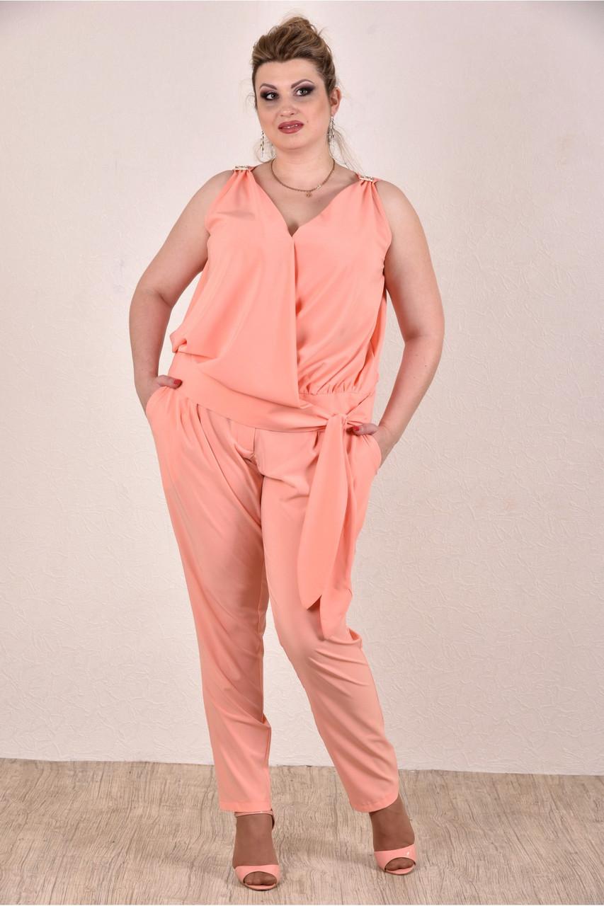 Персиковый костюм 0268-3 большой размер