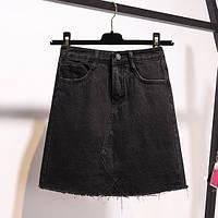 Джинсовая женская юбка трапеция с карманами черная, фото 1