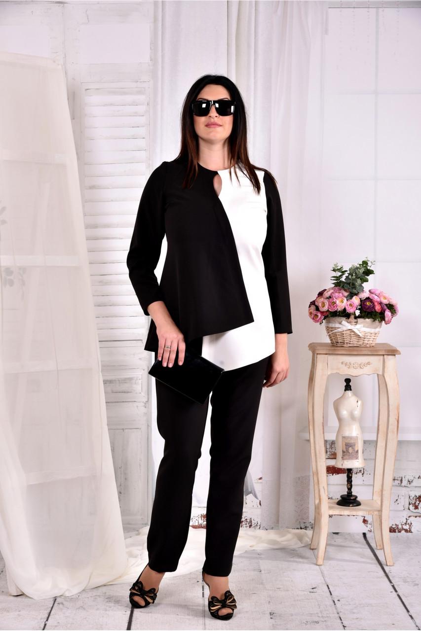 Чорно-біла блузка великого розміру 42-74 0565 -1