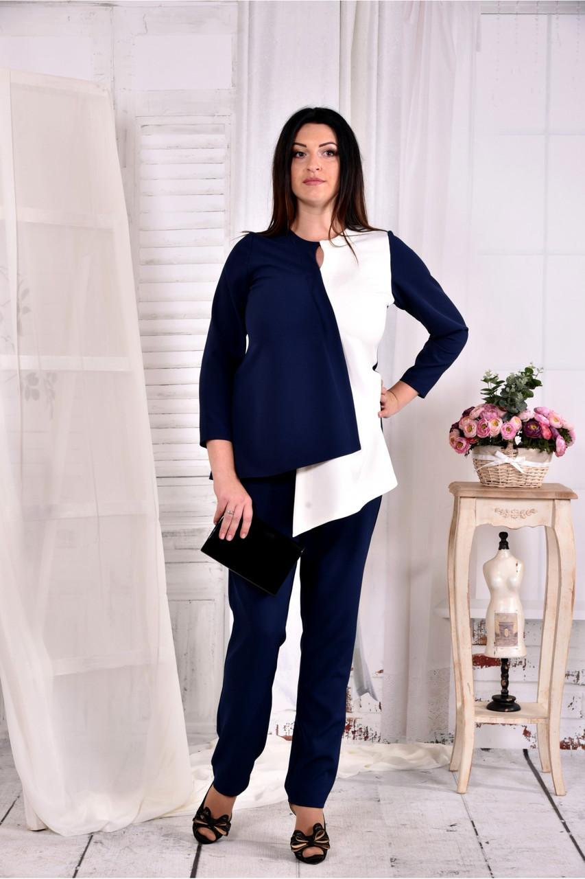 Синя з білим блузка 0565-2 (класно поєднується з брюками 030-2)