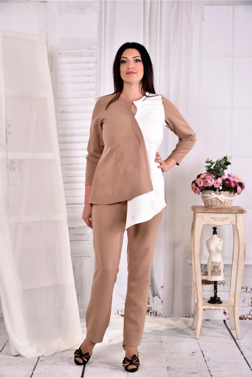 Светлая нежная блузка из костюмки 0565-3 (на фото с брюками 030-3)