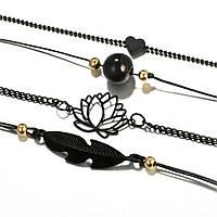 Набор браслетов черный металл