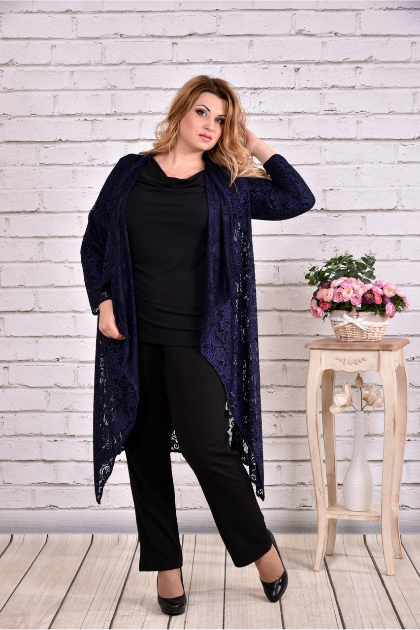 Комплект: синя накидка і чорна блузка   0632-2
