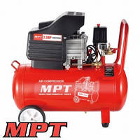 MPT  Компрессор PROFI 50 л, 2000 Вт/2.5 л.с., 2850 об/мин, 140 л/мин, 8 атм, 2 выхода, медная обмотка, Арт.: MAC25503