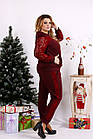 Червоний костюм двійка з гіпюром великий розмір 42-74.0670-2., фото 3