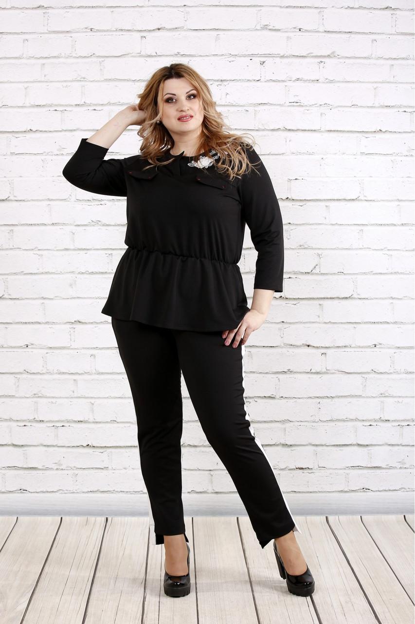 Чорний костюм двійка з трикотажу великого розміру 42-74   0756-1