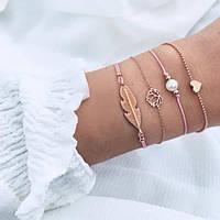 Набор браслетов 4шт розовая нить, золотые вставки