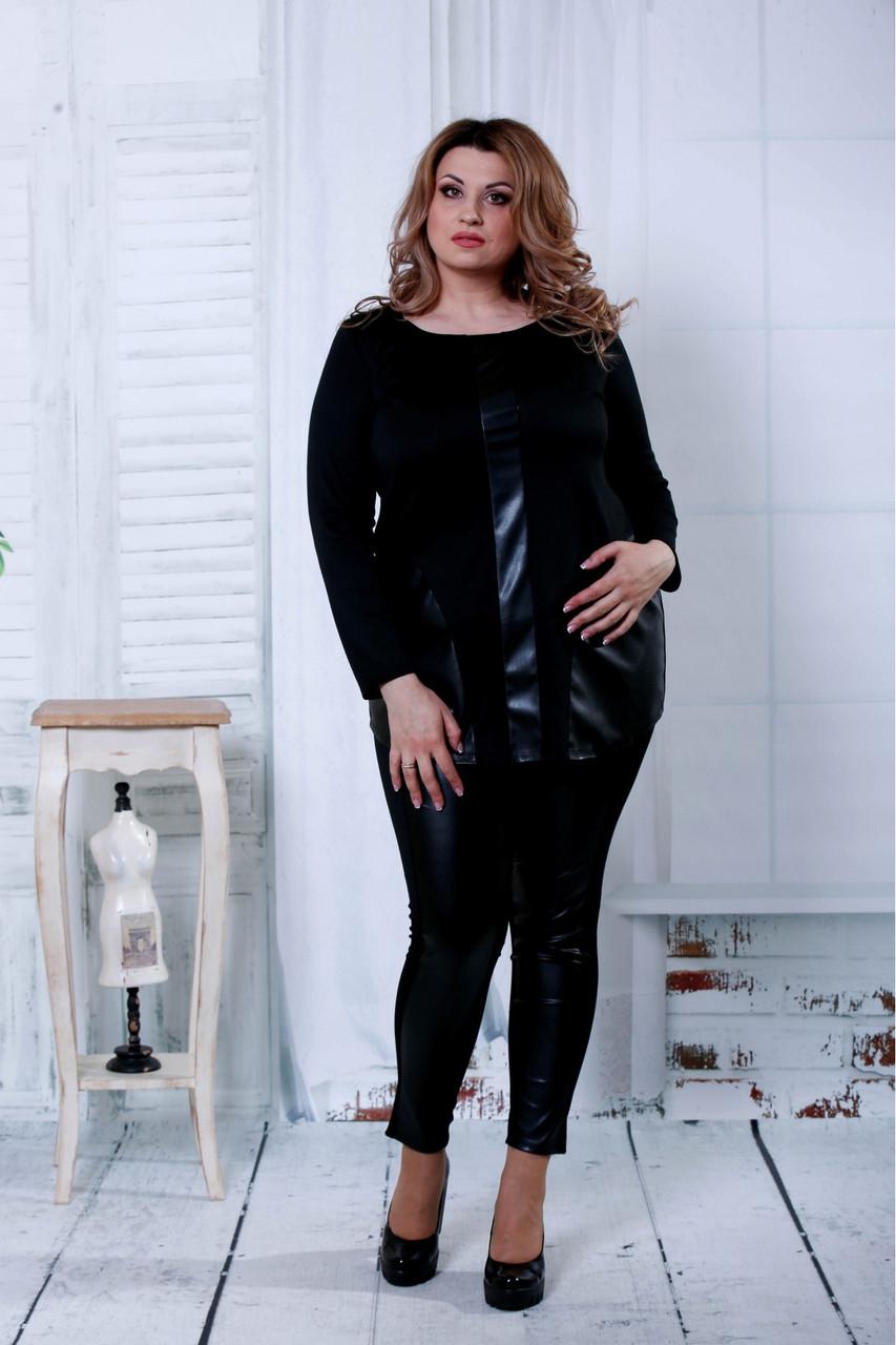 Черный костюм с эко-кожей большого размера 42-74.  | 0795-2