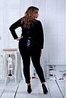 Чорний костюм з еко-шкірою великого розміру 42-74.   0795-2, фото 4