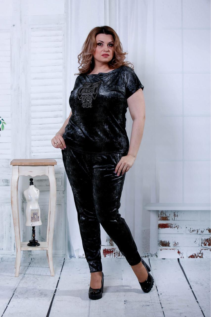 Чорний модний костюм з велюру (інший принт) | 0796-3
