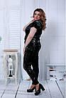 Чорний модний костюм з велюру (інший принт) | 0796-3, фото 2