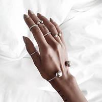 Серебряный браслет + кольца на фаланги пальцев 5 шт
