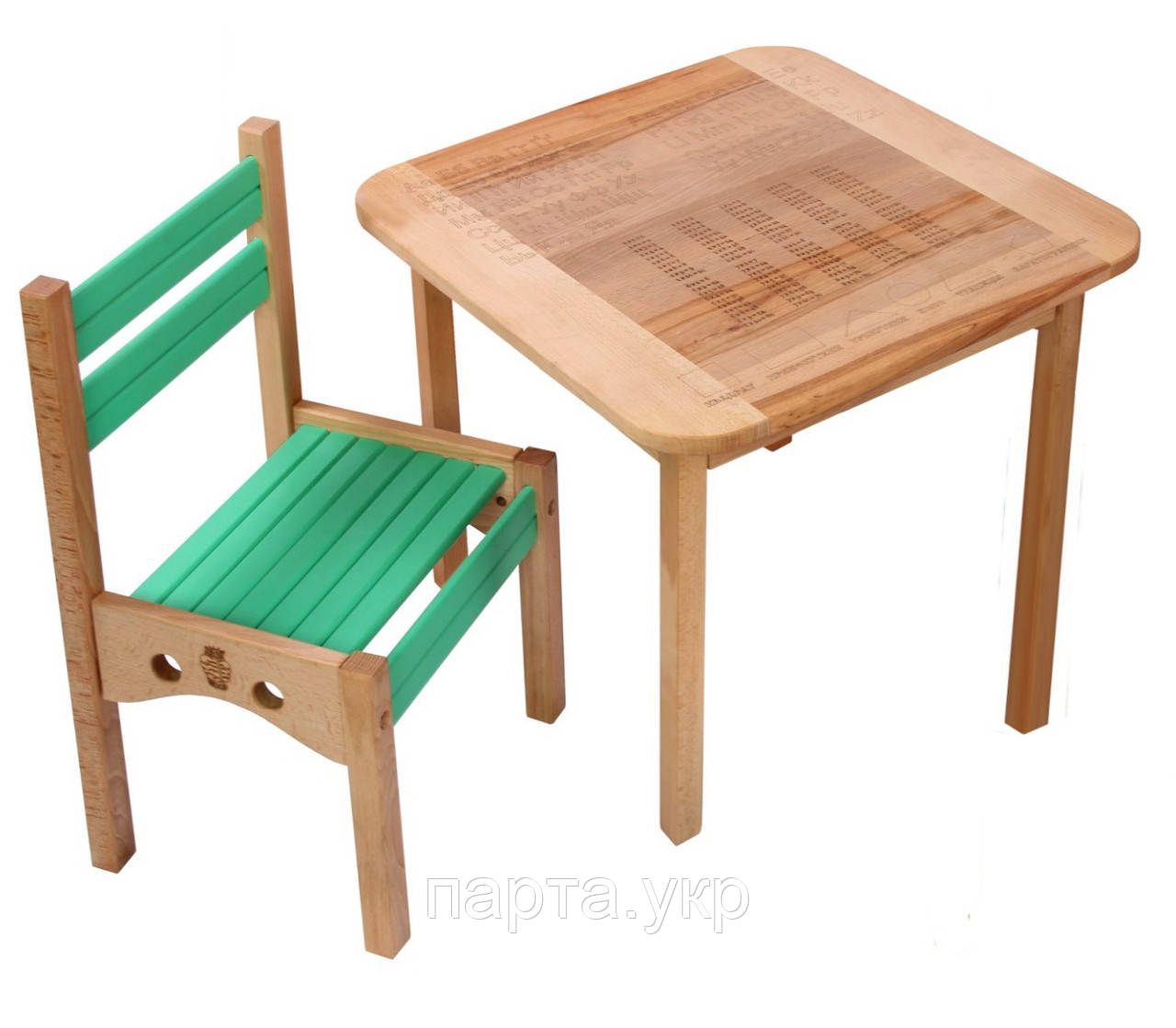 Детский столик и стульчик цветной из бука, 3 цвета
