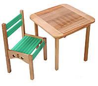 Детский столик и стульчик цветной из бука, 3 цвета, фото 1
