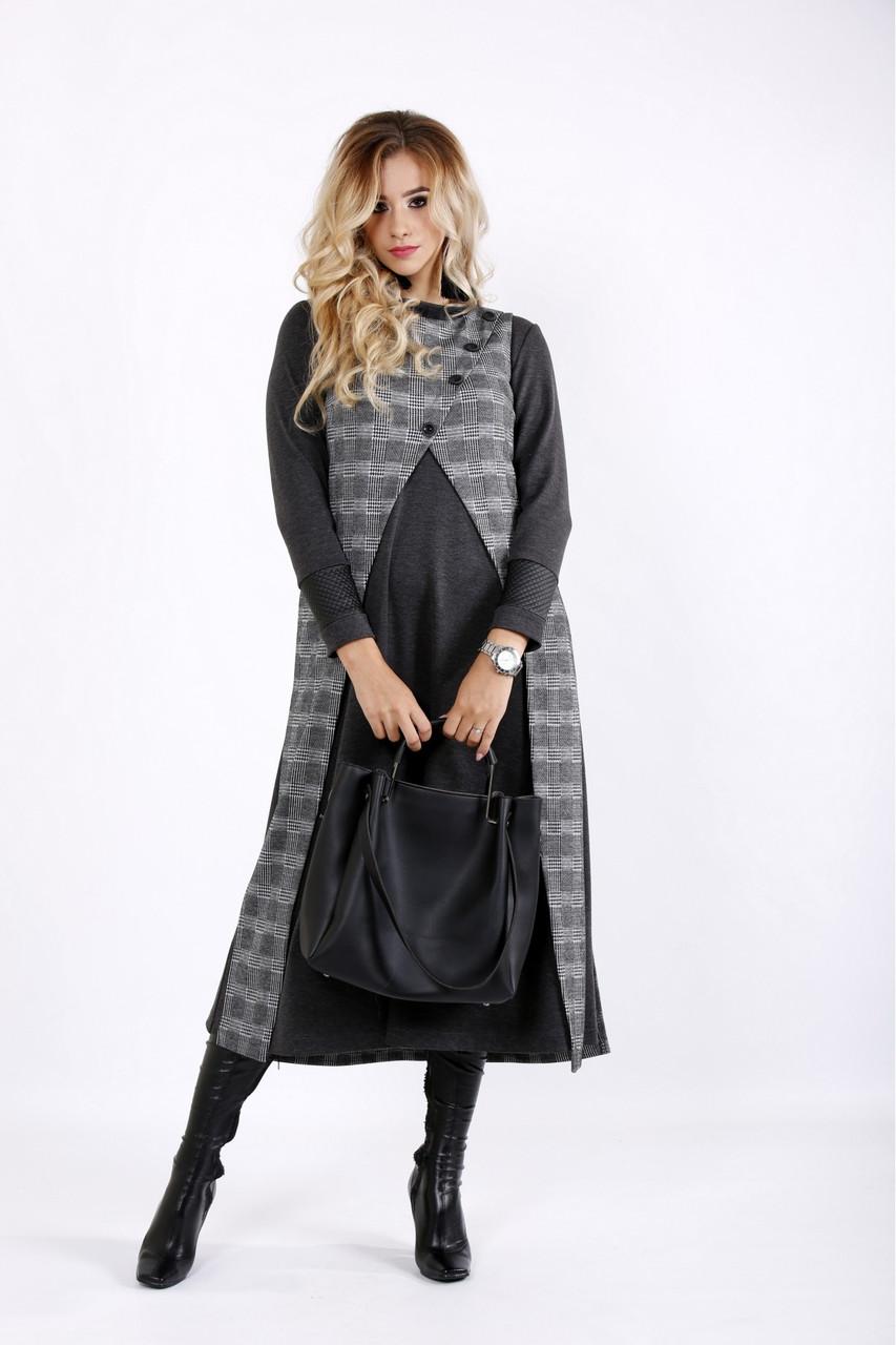 Серый осенний костюм из трикотажа большого размера 42-74.    0905-3