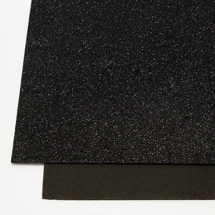 """Флексика """"WB"""" (фоамиран) с глиттером самоклейка 20*30см 1,8мм черный 8681, фото 2"""