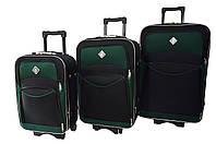 Чемодан Bonro Style набор 3 штуки черно-зеленый