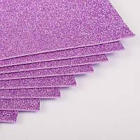 """Флексика """"WB"""" (фоамиран) с глиттером самоклейка 20*30см 1,8мм фиолетовый 8687"""