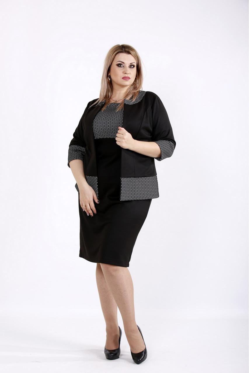 Черный костюм с белым узором большого размера 42-74.  | 0941-2