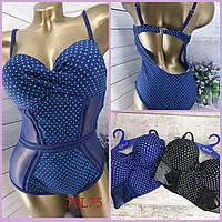 Синий купальник женский цельный с открытой спиной