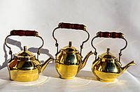 Восхитительный набор чайничков,3 шт. Чайник,заварник! Латунь. Germany!