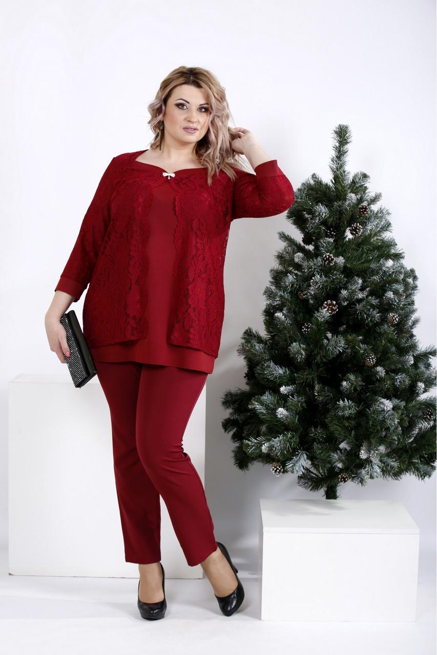 Стильний костюм-двійка бордового кольору великий розмір 42-74. 01006-3