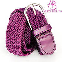 """Ремень плетенка резинка на шпеньке (фиолетовая) 35 мм """"ALEX"""" оптом прямой поставщик"""