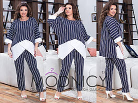 Женский костюм: брюки и блуза в расцветках, р-р 48-62. Ш-33-0419