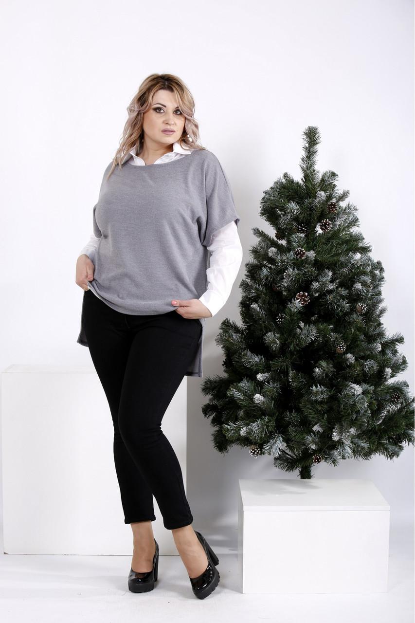01018-3 | Сорочка в комплекті з сірої кофтою (на фото з джинсами j043)