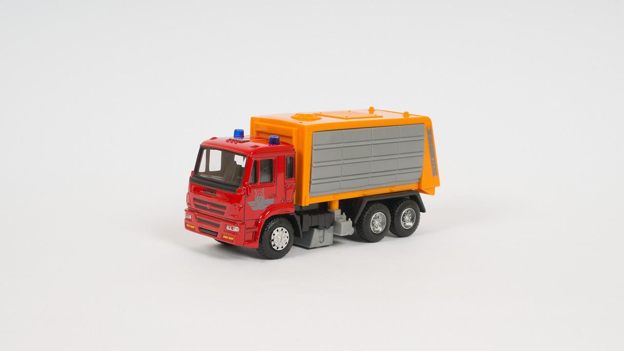 Машинка PLAY SMART металлическая - мусоровоз. Двигается по инерции