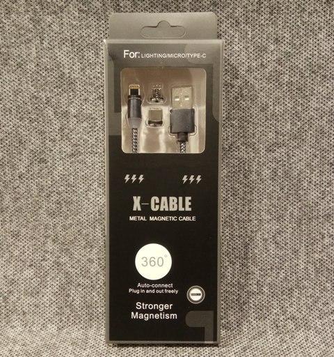 Магнитный кабель x cable 3в1 Lightning Micro USB Type-C серый