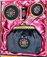 Восхитительный дамский туалетный набор - косметичка,зеркальце,пудреница,футляр для помады Вышивка.
