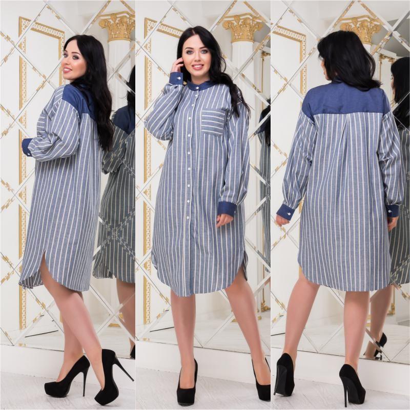 Женский платье-рубашка лен мод.5197 ХЛ+