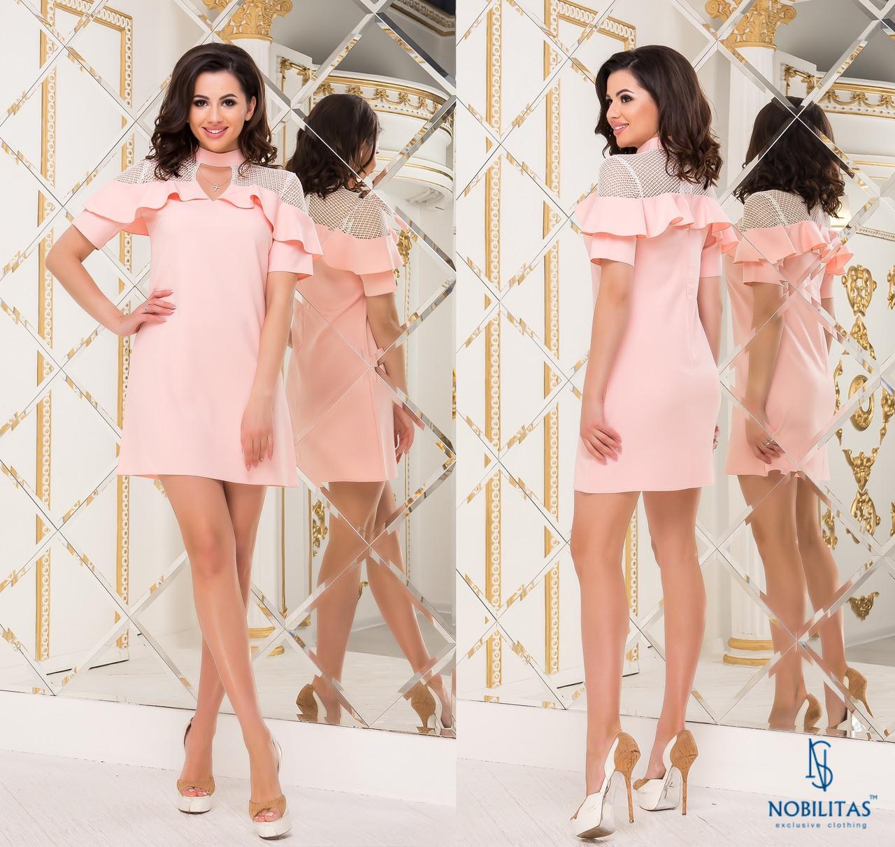 СТИЛЬНОЕ платье NOBILITAS 42 - 48 розовое (арт. 18012)