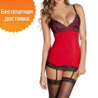 Сексуальный красный корсаж с резиночками для чулков + шёлковые трусики-стринги