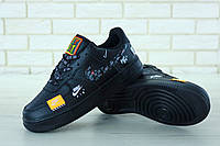Кроссовки мужские Nike Air Force 1 Low Just Do It Pack Black (реплика +ААА), фото 1