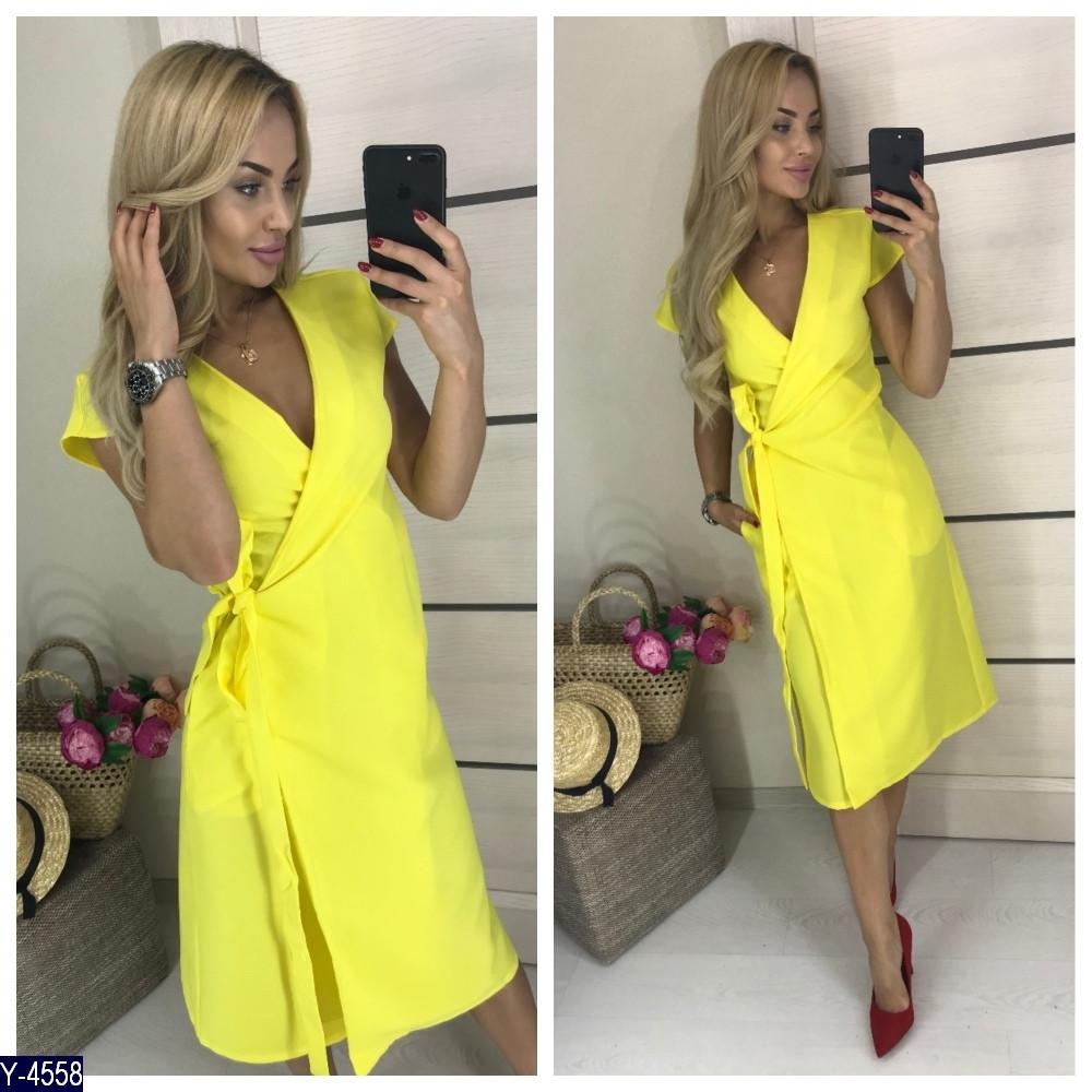 Женское однотонное летнее миди платье на запах с коротким рукавом (габардин) 3 цвета