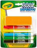 Фломастеры для письма на доске с губкой (5 шт) на водной основе яркие насыщенные цвета Crayola