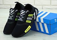 Кроссовки мужские Off-White x Adidas NMD R1 в стиле Адидас НМД Офф Вайт, черные