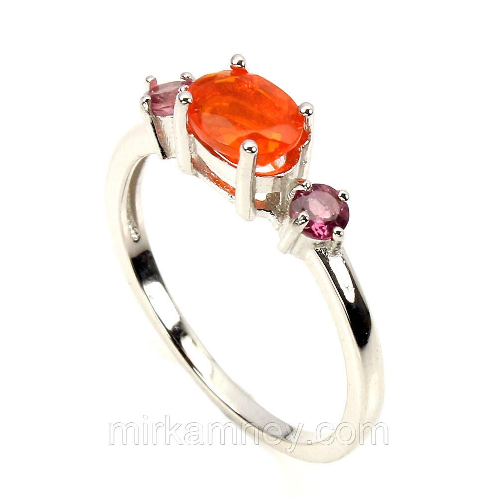 Кольцо оранжевый огненный Опал (Эфиопия) и Турмалин. Размер 18. Серебро 925, покрытие белым золотом 14 карат