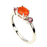 Кольцо оранжевый огненный Опал (Эфиопия) и Турмалин. Размер 18. Серебро 925, покрытие белым золотом 14 карат, фото 1