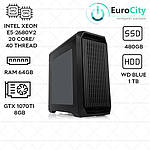 Рабочая станция (2x Intel Xeon E5 2680v2, 20 ядер 40 потоков / ОЗУ 64GB / SSD 480GB / GTX 1070TI 8GB)