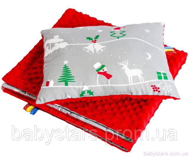 """Комплект детский """"Рождественская сказка"""": одеяло 75 х 85 см подушка 40 х 30 см"""