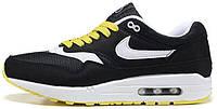 Мужские кроссовки Nike Air Max 1 Black/Yellow (в стиле Найк Аир Макс 1) черные